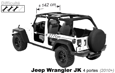 bikini avant 4x4 jeep wrangler jk 4 portes 2010 en vinyle. Black Bedroom Furniture Sets. Home Design Ideas